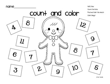 Gingerbread Man Count and Color Math Game FREEBIE by Chalk and Lipgloss