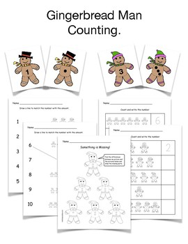 Gingerbread Man Counting and Coloring