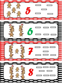 Gingerbread Man Counting & Fine Motor Skills Cards, Numbers 1 to 10