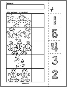 Gingerbread Man Cut & Match Worksheets | Numbers 1-5