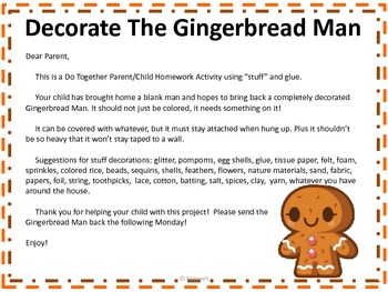 Gingerbread Man Do Together Parent Child Homework Activity