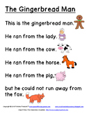 Gingerbread Man Easy Reading Passage
