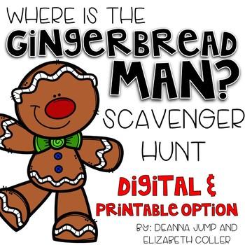 Gingerbread Man Editable Scavenger Hunt Centers