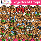 Emoji Gingerbread Man Clip Art {Christmas Emoticon & Smile