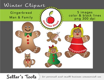 Gingerbread Man & Family winter clipart for commercial use