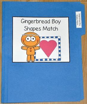 "Gingerbread Man File Folder Game--""Gingerbread Boy Shapes Match"""