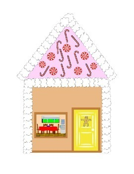 Gingerbread Man House Cut and Paste Pattern Math Literacy