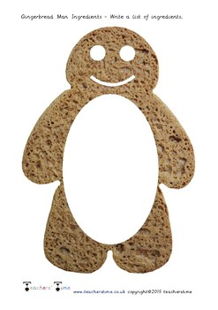 Gingerbread Man Ingredients List Writing