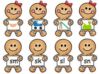 Gingerbread Man Initial Sounds, Digraphs and Blends