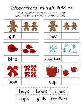 Gingerbread Man Kindergarten Common Core  Plurals Activity (4 Total)