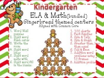 Bundled Gingerbread Man Kindergarten Math & Literacy center