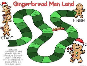 Gingerbread Man Land - Double Digit Addition Game Board