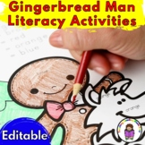 Gingerbread Man Literacy Activities for Kindergarten (EDITABLE)