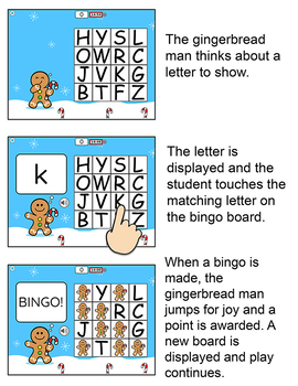 Gingerbread Man Letters of the Alphabet Bingo Game - A Fun Christmas Game