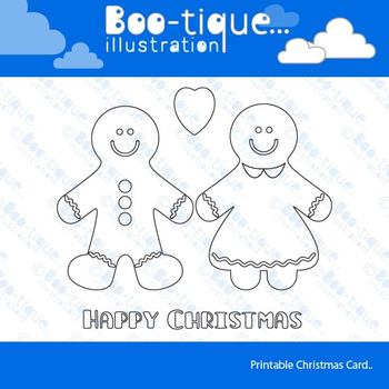 Gingerbread Man Line Art Card Printable. Christmas Colouring in Card. Christmas.