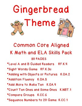 Gingerbread Math and ELA Skills Pack Common Core Aligned 80 pgs