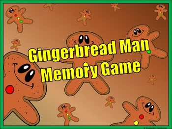 Gingerbread Man Memory Game (ANTONYMS)