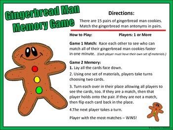 Gingerbread Man Memory Game (ANTONYMS)