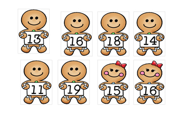 Gingerbread Man Missing Numbers 11-20