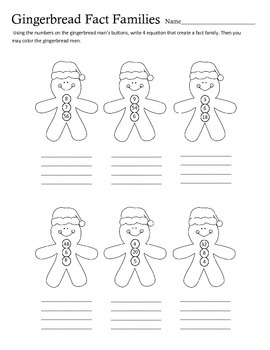 Gingerbread Man Multiplication and Division Fact Family Practice