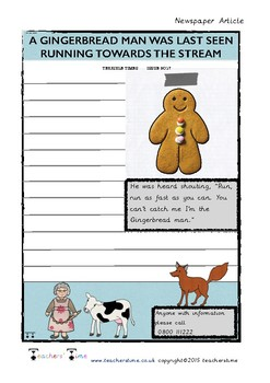 Gingerbread Man Newspaper Template