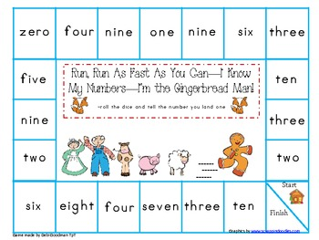 Gingerbread Man Number and Color Word Game Board Set