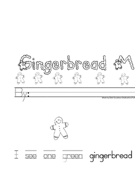 Gingerbread Man Number and color word book