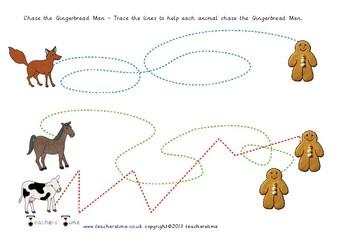 Gingerbread Man Pencil Control