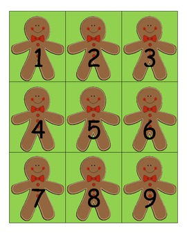 Gingerbread Man Pocket Chart Numbers 1-100