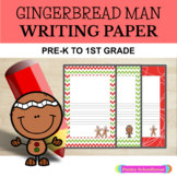 Gingerbread Man: Primary Writing Paper With Picture Boxes and Without