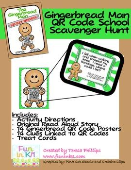 Gingerbread Man QR Code School Scavenger Hunt