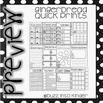 Gingerbread Man Quick Prints for Kindergarten : No Prep
