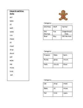 Gingerbread Man Retell and Tic Tac Toe Game
