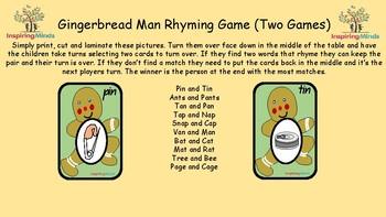 Gingerbread Man Rhyming Mats