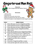 Gingerbread Man Roll - A December Math/Art Activity to Practice Adding 2 Numbers