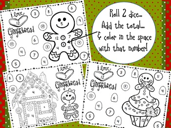 Gingerbread Man Roll, Add & Color Printables (3 different designs)
