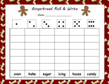 Gingerbread Man Roll & Write Printables & Activity Mats (6 Sheets)