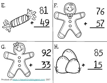 Gingerbread Man Scoot - 2-Digit Addition with Regrouping