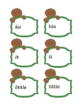 Gingerbread Man Sight Word Matching Center