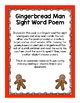 Gingerbread Man Sight Word Poem