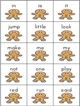 Gingerbread Man Sightword Game