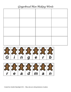 Gingerbread Man Spelling Lesson