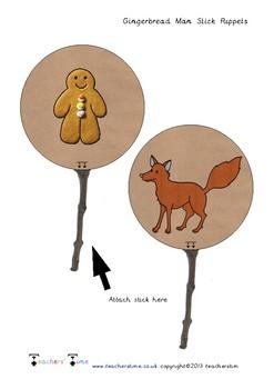 Gingerbread Man Stick Puppets