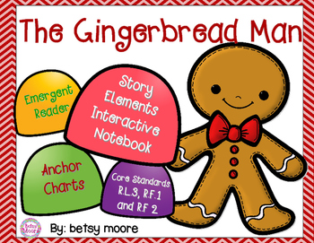 Gingerbread Man Story Elements Interactive Notebook, Emergent Reader R.L.3 R.F.1
