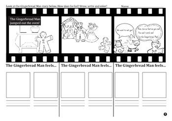 Gingerbread Man Story - Feelings Map Kindergarten and 1st Grade FREE