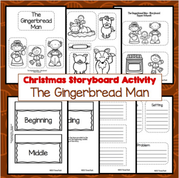 Gingerbread Man Storyboard Craftivity - Story Elements and Summarizing