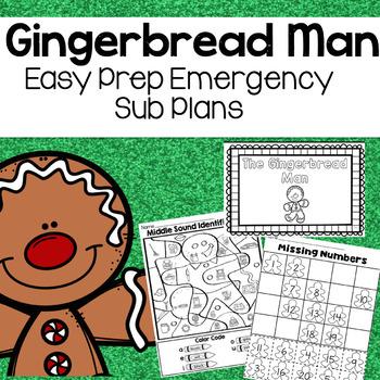 Gingerbread Man Activites Kindergarten Sub Plans