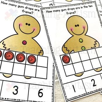 Gingerbread Man Ten Frame Task Cards