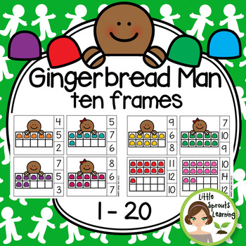 Gingerbread Man Ten Frames Count and Clip Cards 1-20 (great for Math Centers)