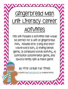 Gingerbread Man Unit Literacy Center Activities